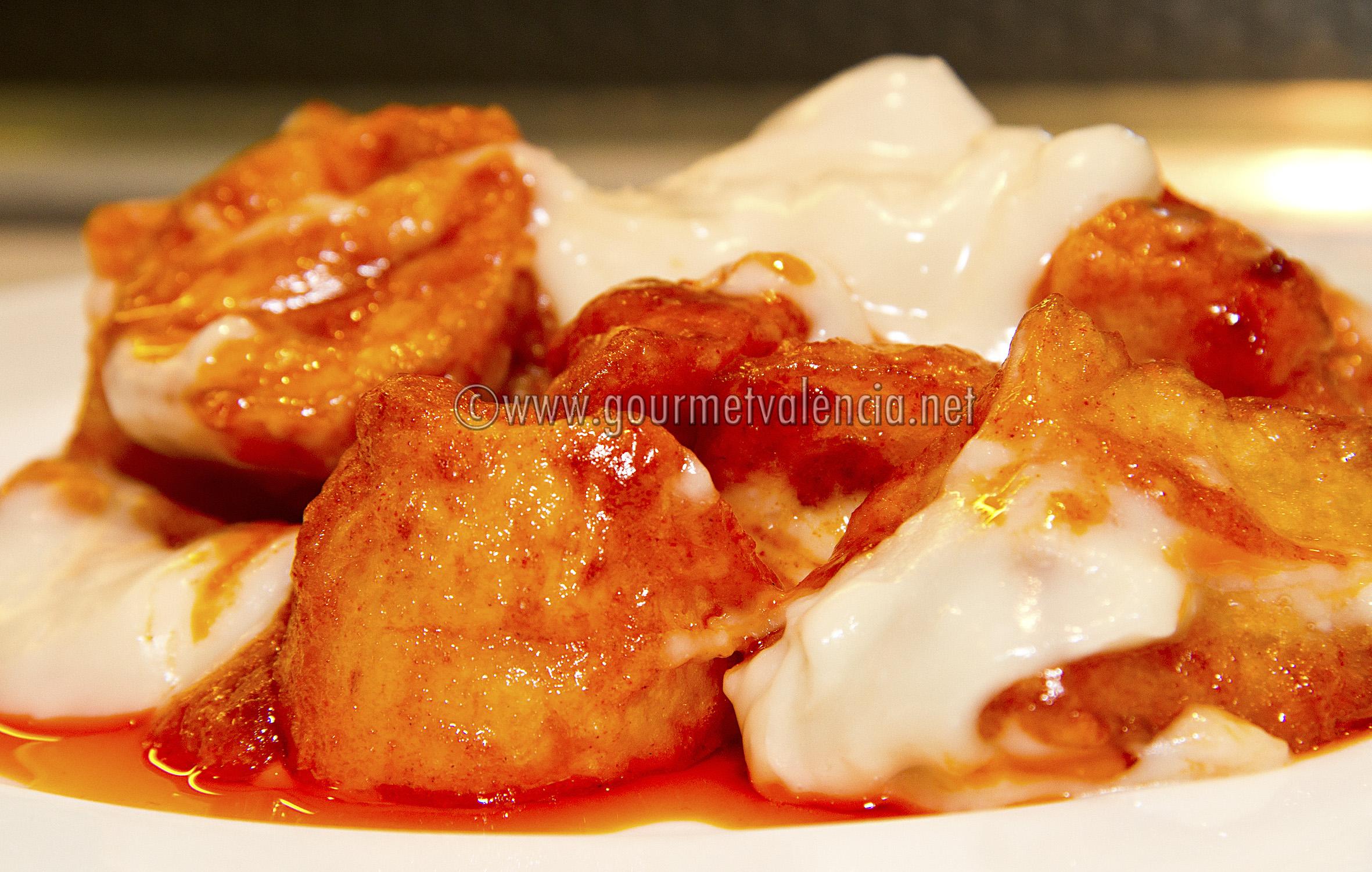 ... tots patatas bravas with pimenton sauce potato tots bravas tortilla de
