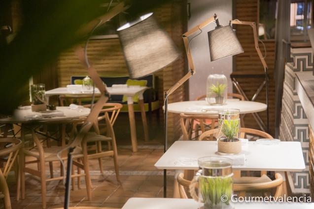 Detalle de mesas del restaurante Macel·lum